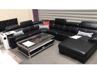LUXURY NEW LEATHER CORNER SUITE - HALF THE RRP - TRADE SOFA OUTLET - DELIVERED