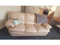 2 cream leather sofa's (3 seater and 2 seater) excellent condition