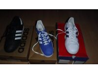 3 pairs addidas trainers size9 and 2 leather jackets