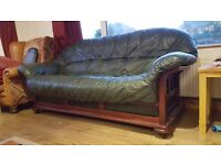 3 seater leather sofa, wooden frame. Quick sale