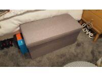Vintage Retro Style Modern Ottoman Grey Storage Chest Shoe Storage Linen Box Toy Box
