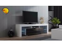 Modern TV Unit 130cm Cabinet Stand White Matt & Black High Gloss + LED|Lights RGB
