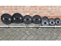 OLYMPIC BLACK CAST IRON WEIGHTS SET WITH 7FT BAR