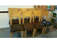 8 dining chairs, solid wood, natural oak, with brown faux leather seats