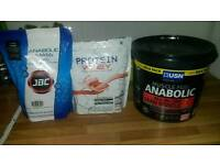 Selection of protein powder. USN 50g protein per serving