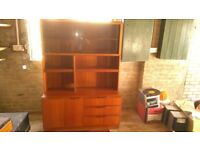 Light teak sideboard. Drawers & Cupboards and glass fronted cabinets