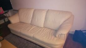 3 seater cream leather sofa with arm chair and foot stool