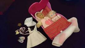 Wooden baby dolls Crib and accessories
