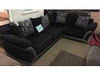 Corner suite black and grey new £450