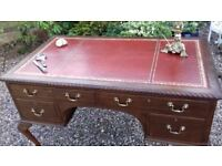 Large Vintage Antique Doctors Mahogany / Oak Leather Topped Writing Desk Table