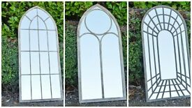 Vintage Church Style Metal Arch Mirror