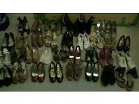 34 pairs of womens shoes various styles sizes 5 & 6