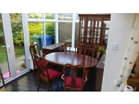 Dining table with 6 chairs, kitchen dresser, cabinet