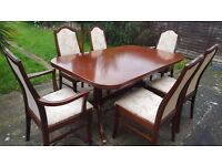 G PLAN SOLID WOOD TABLE AND 6 x CHAIRS
