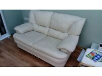 Comfy cream leather Sofa.