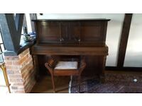 Piano and stool free to a good home. Needs tuning. Would suit a beginner.