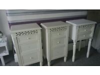 BEDSIDE TABLES drawers home furniture shabby chic french bed storage