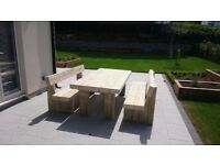 Garden table railway sleeper table garden furniture set seat bench Summer Loughview Joinery LTD