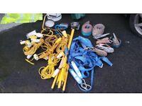 construction site 110v cabels & lights, straps and harness