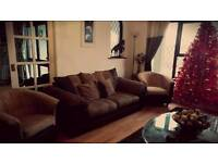 Large 2 seater and 2 chairs. Can deliver