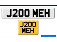 J200 MEH private cherished personalised personal registration plate number mechanics plate