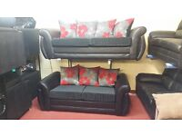 BUY 3 SEATER SHANNON £399 GET THE 2 SEATER FREE!!! IN RED FLORAL CUSHIONS WITH PU BODY BLACK