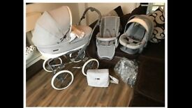 Bebecar Stylo Classic travel system in grey and white