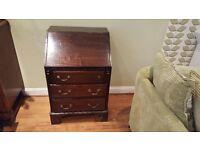 Vintage Retro Writing Bureau Desk 3 Drawer Chest Dresser Sideboard