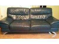 Blue Two Seater Leather Sofa