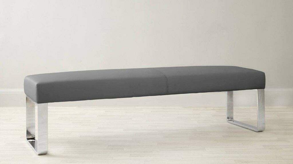 Brand New Danetti Graphite Grey Loop 3 Seater Dining Bench Without