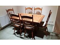 New Zealand oak dining table and 6 x NZ oak matching chairs