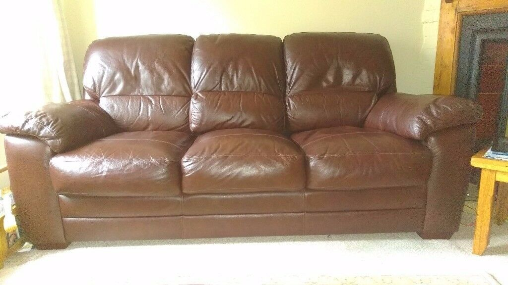 THREE 3 SEATER BROWN LEATHER SETEE SOFA - REDUCED FOR QUICK SALE