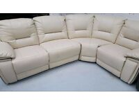Ex display real leather 4 piece corner sofas