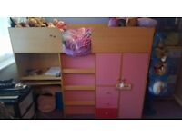 Mid Sleeper Cabin Bed - FRAME ONLY with wardrobe, 3 drawers, desk and storage cupboard