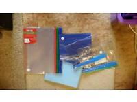 Folders, clipboards, pockets.