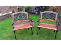 PAIR OF GARDEN CHAIRS WITH CAST IRON ENDS