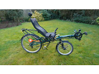 Recumbent bicycle, feet forwards bike excellent condition