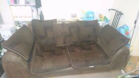 LARGE TWO SEATER FABRIC AND LEATHER LOOK SOFA IN GOOD USED CONDITION FREE LOCAL DELIVERY 07486933766