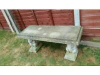 STONE BENCH WITH SQUIRREL SUPPORTS