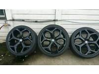 "22 inch "" bmw x5 x6 alloy wheels gloss black good tyres"