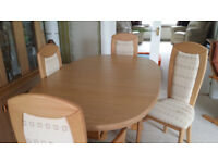 Dining table (extending) and 6 chairs, Caxton Furniture, £75.00...