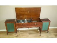 Garrard Vintage Record Player Turntable in Wooden Cabinet with Speakers