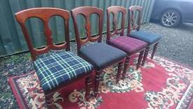 Dining chairs X 4 unique
