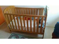 East Coast adustable, drop-side cot, mattress included