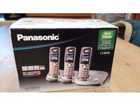 Panasonic set of 3 cordless phones brand new