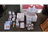 Breast pump, bottles, bags