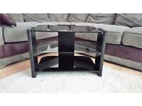 BLACK TV STAND - SMALL - GOOD CONDITION - CAN DELIVER