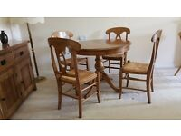 Round Pedestal Walnut Dining Table and 4 Chairs