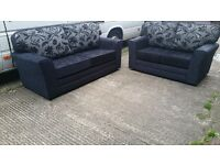 BUY THE KENT REVERSO 3+2 IN BLACK / SILVER FLORAL CUSHION 3 SEATER £399 GET 2 SEATER FREE !!
