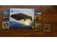 PS4 SLIM 500GB WITH 5 GAMES AND WARRANTY MAY PX WITH PS3